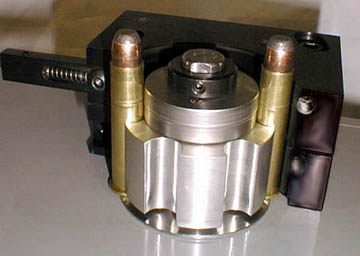 45-70 WCF cartridge feeder on the PCM-2 power cannelure machine